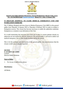 37th Military Hospital Closes Medical & Emergency Unit to the Public