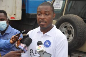 General Manager (GM) of Zoomlion Ghana Limited, Accra Zone, Ernest Morgan Acquah addressing the media