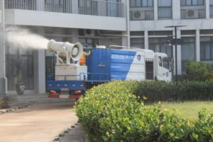 Atomiser disinfecting one of the tertiary institutions in Volta Region