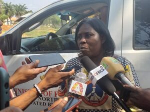Asunafo Municipal Education Ditector, Magrat Obuobu speaking to the media