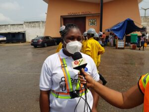 Project Co-ordinator for Jospong/Zoomlion Free Community Disinfection Campaign Mrs. Lola Asiseh Ashitey