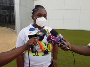 Mrs. Lola Asiseh Ashitey, the Project Co-ordinator for Jospong/Zoomlion Free Community Disinfection Campaign