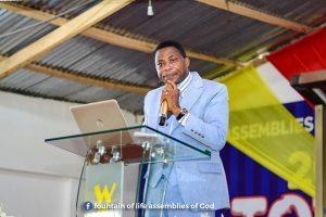 Rev Felix Kwaku Delali Demebu, Head Pastor of Fountain of Life Assemblies of God, Manhean Tigo Pole, delivering the sermon during the anniversary launch