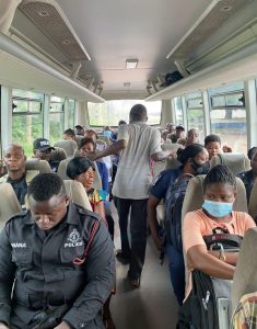 Service Personnel in the shuttle bus to duty